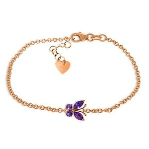 14K. SOLID GOLD BUTTERFLY BRACELET WITH AMETHYSTS